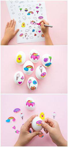 Cute Easter Egg Sticker Art with Free Printable Coloring Page. Let kids color in these DIY stickers to make colorful Easter Eggs! Art Activities For Kids, Easter Activities, Easter Crafts For Kids, Fun Crafts, Art For Kids, Easter Ideas, Easter Stuff, Amazing Crafts, Therapy Activities
