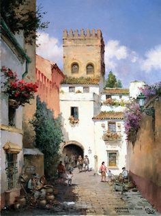 Manuel Fernández~ The Way It Was~c.c~In The Foothills Of The Sierra Del Pinar, Grazalema, Cadiz,~ The Old, Untouched Andalucia Of Old~ cm) Watercolor Landscape, Watercolor Art, Pintura Exterior, Spanish Artists, Great Paintings, Andalucia, Color Of Life, Lovers Art, Painting Inspiration
