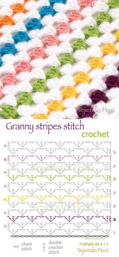 Learn how to crochet granny stripes Granny Stripes, Granny Stripe Crochet, Point Granny Au Crochet, Crochet Squares, Granny Stripe Blanket, Square Blanket, Blanket Stitch, Crochet Diy, Crochet Simple