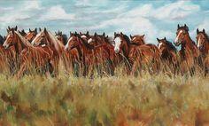 """Running Free 36"""" X 60"""" (plus frame)  oil on canvas... by Paul Van Ginkel"""