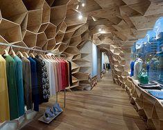 wooden interior design by Kengo Kuma