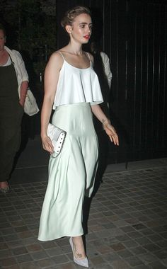 Lilly Collins Houghton skirt, Casadei pumps On the Street, London July 12, 2014