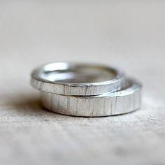 Sterling Silver tree bark wedding ring set