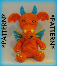 PATTERN ONLY  Crochet Dragon by KuddlesAndKritters on Etsy, $5.95