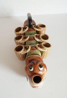SALE / vintage dachshund decanter / ceramic doxie / decorative barware. $20.00, via Etsy.