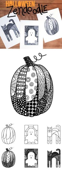 Zen doodle Halloween Coloring Pages | The pumpkin, ghost, and cat coloring pages come in two versions. One is already filled with Zendoodle marks that you can add to and color in. (Get ready for inner peace.) The other offers a blank pumpkin, blank ghost, and blank cat that you can customize to your hearts content. via @todaysmama