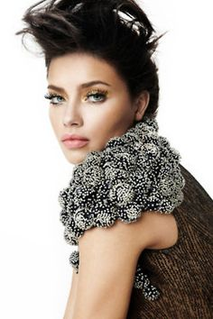 -Crazy up do and natural lips with gold eyes...Adriana Lima for Vogue Brazil February 2011 by Fabio Bartelt