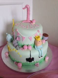 This was the first birthday cake for my daughter a nursery rhyme theme