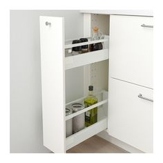 METOD Onderkast m uittrekbare inrichting, wit, Veddinge wit, cm - IKEA Ikea Metod Kitchen, I Cool, Küchen Design, New Kitchen, Bathroom Medicine Cabinet, Locker Storage, House Plans, Construction, Interior