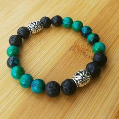 Chrysocolla and Lava Rock Essential Oil Diffuser Bracelet