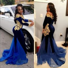 2018 New African Long Sleeves Velvet Prom Dresses Elegant Boat Neckline Floor Length Mermaid Royal Blue Evening Gowns With Gold Lace African Prom Dresses, Royal Blue Prom Dresses, Prom Girl Dresses, Homecoming Dresses, Prom Outfits, Prom Dresses Long With Sleeves, Dresses Short, Dress Long, Royal Blue Evening Gown