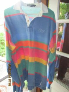 Vtg 1990's Ralph Lauren Polo Colorful Rugby Shirt L | eBay