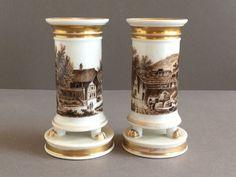 A Pair of Antique Spill Vases Old Paris / William Ellis Tucker
