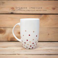 Hand Painted Polka Dot Latte Mug