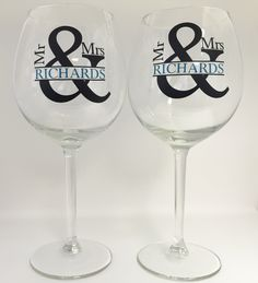 Set of Personalized Mr and Mrs Wine Glasses,Personalized Bride and Groom Glasses,His and Hers,Ampersand Couples Gift,SALE by EyeCatcherDecals on Etsy https://www.etsy.com/listing/252951066/set-of-personalized-mr-and-mrs-wine