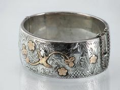 1937 Vintage Sterling Silver Bracelet Victorian by ClosetGothic, $270.00