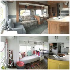 A before and after photo of a fifth wheel renovation.