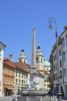 Ljubljana, Slovenia. I saw this fountain but it was boarded up for the winter when I was there! A lovely city. #travel