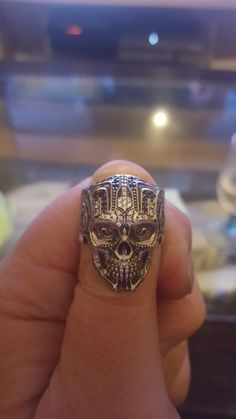 Skull Jewelry, Antique Jewelry, Jewelry Rings, Jewlery, Mens Skull Rings, Silver Skull Ring, Unique Rings, Beautiful Rings, Wax Carving