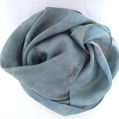 Hand-dyed Habotai Silk Scarf with Plants, Flowers, Lavender and Purple Potatoes, no chemical mordants or dyes used