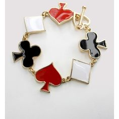 Playing Card Charm Bracelet with Spade, Club, Heart, ($15) ❤ liked on Polyvore featuring jewelry, bracelets, black, cards, club, gold jewellery, heart charm, gold heart charm, yellow gold charm bracelet and yellow gold charms