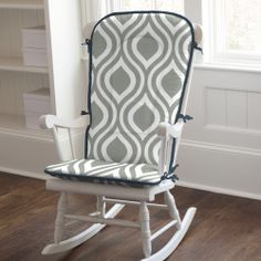 Gray and Navy Raindrops Rocking Chair Pad #carouseldesigns