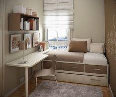 Einzelbett mit Bettkasten und Eckschreibtisch