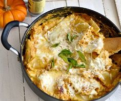 One Skillet Pumpkin Lasagna - recipes with pumpkin, one pot meal, skillet recipe