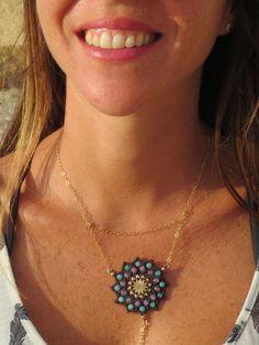 New to MacrameLoveJewelry on Etsy: Macrame Jewelry Macrame  necklace spiritual Mandala necklace Pendant necklace Boho radish black mandala with Amethyst and Jade stones (89.00 USD)