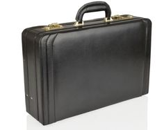 Leather Expanding Attache - This Genuine Bonded Leather Expanding Attache Briefcase is a fantastic addition to any business person as it has an expandable lidded section which allows extra space if required. It is fitted with twin brass combination locks for security and protective brass studs on the base for protecting your leather case.