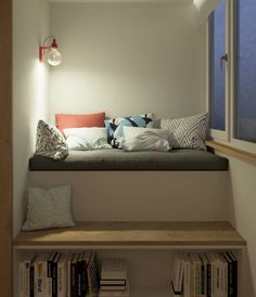 Kleine Wohnung einrichten: clevere Einrichtungstipps small apartment set up smart ideas to imitate – self-built bed in niche of the room with storage space under the bed. Living ideas for a small bedroom. Apartment Design, Apartment Living, Apartment Ideas, Apartment Showcase, Living Rooms, Apartment Interior, Small Room Interior, Apartment View, Apartment Layout