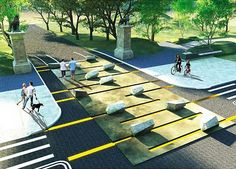 """The Third Street entrance to Prospect Park as imagined in the winning entry, """"Stone Garden."""""""