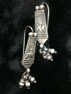 Peacock Silver Traditional Earrings
