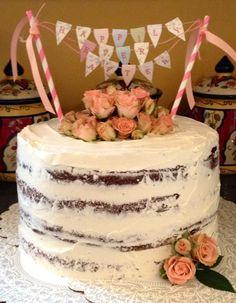 Naked cake with bunting