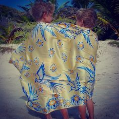 """""""#tbt Bird design in yellow blue on charmeuse silk. Find our new collection of sarongs at: http://www.pinkhousemustique.com/collections/lotty-b-sarongs"""""""