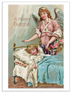 CHRISTMAS ANGEL W/ A CHILD Vintage Postcard      http://everythingelse.bidstart.com/CHRISTMAS-ANGEL-W-A-CHILD-Vintage-Postcard-Image-Greetin-/31196391/a.html