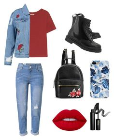 """Untitled #9"" by lacheoana on Polyvore featuring Boohoo, WithChic, Dr. Martens, Lime Crime and INIKA"