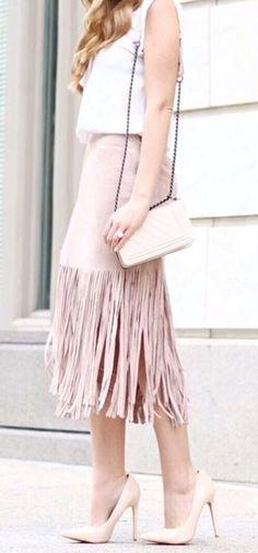 Cute blush fringe skirt