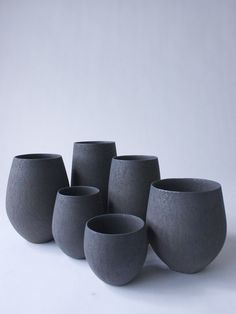 Handmade pottery in matte black.