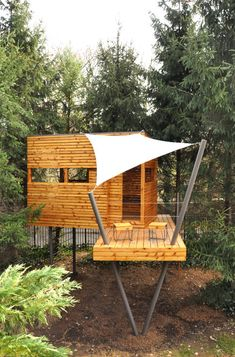 Modern Playhouse w/ Sail Shade