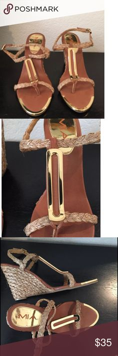 MIA Tiffany Nude Woven Wedge Sandals NWOT Wedge Sandals  Rounded Gold Plated Toe  Textile Outside  Man Made Upper  Heel Height 4  Size 10M   Please let me know if you have any questions.  Thank you for looking!!!!!!! MIA Shoes Sandals