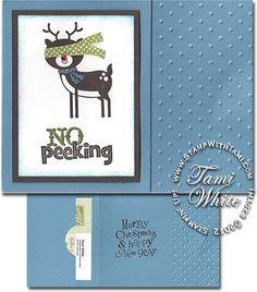 """Stampin' Up! Gift card holder - """"No Peeking"""" stamp set. Video tutorial"""