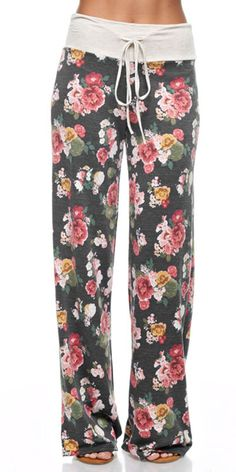 Why not be in style with these cute Floral Lounge Pajama Pants while relaxing. These trendy floral pants are great for a chilly morning, watching t.v. or just a lazy day. Wear with your favorite tee f