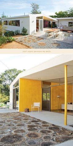 stump patio + yellow wall