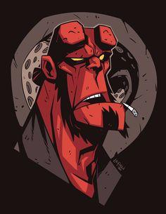 Hellboy Head Sketch by DerekLaufman on DeviantArt