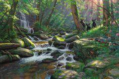 Seasons of Life III ~ Summer Delights by Mark Keathley ~ black bear cubs sunlit forest stream waterfall