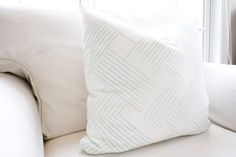 Woven Sky Pillow Cover Light Blue Weave by WhiteHavenDesigns