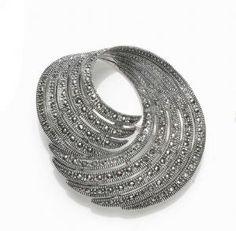 Finest Art Deco Sterling Silver & Marcasite Brooch  $204.00