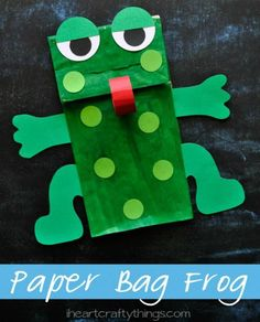 8 Crafts to Make to Celebrate the Color Green: Paper Bag Frog Puppet