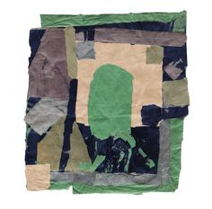 """Francis Davison [UK] (1919 - 1984) ~ """"Green, Black, Beige and Purple"""". Paper collage (61 x 60 cm).   #art #collage #abstract"""